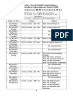Board Exam Time Table 2015