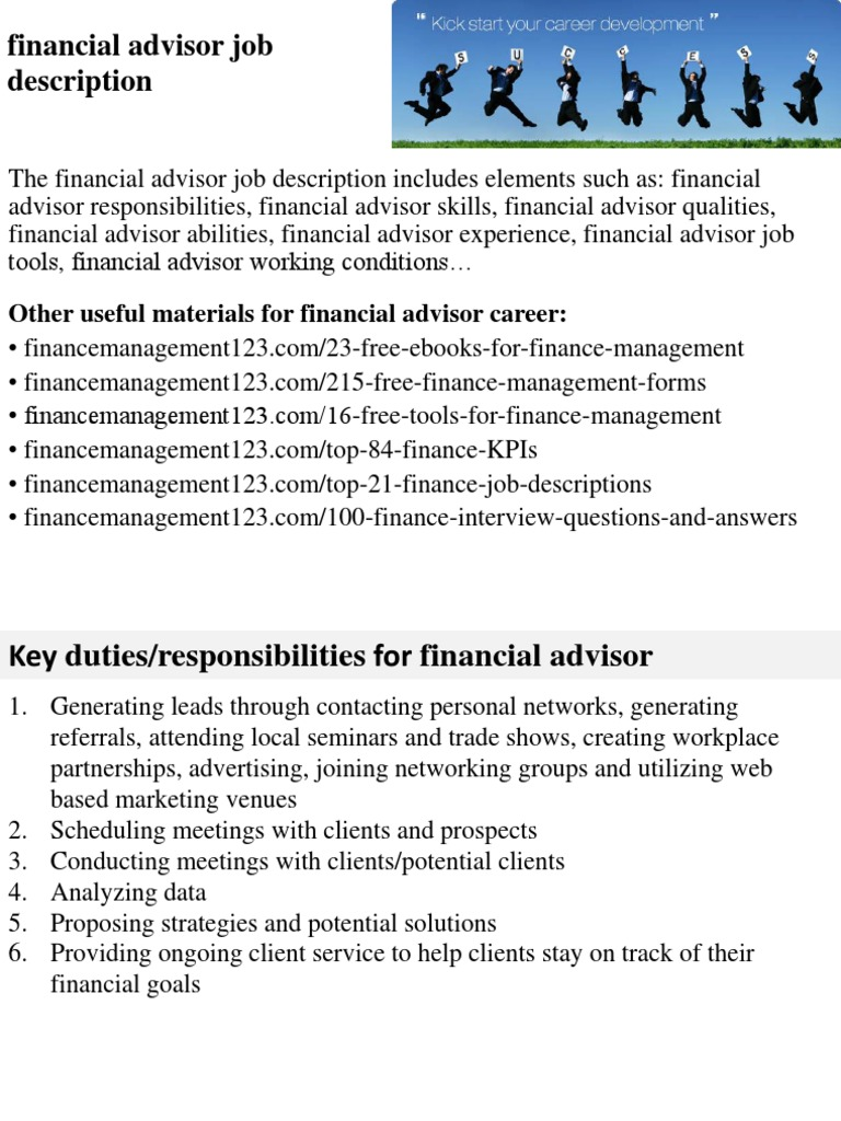 Financial Advisor Job Description | Financial Adviser | Competence (Human  Resources)