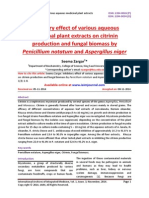 Inhibitory effect of various aqueous medicinal plant extracts on citrinin production and fungal biomass by Penicillium notatum and Aspergillus niger