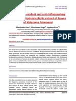 In vitro anti-oxidant and anti-inflammatory activities of hydroalcoholic extract of leaves of Valeriana Jatamansi
