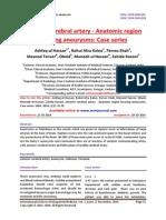 Anterior cerebral artery - Anatomic region favoring aneurysms