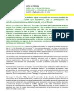 "Nota de Prensa II Jornadas ""La Educación que queremos"""