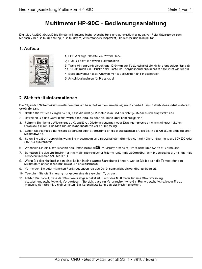 Gemütlich 2 Messkabel Ideen - Elektrische Schaltplan-Ideen ...