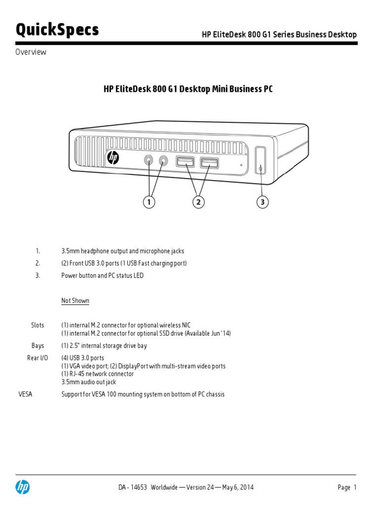 Hp Elitedesk 800 G1 Dm Manual