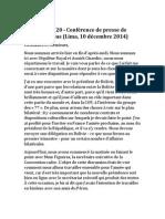 Climat - COP 20 - Conférence de presse de Laurent Fabius (Lima, 10 décembre 2014)