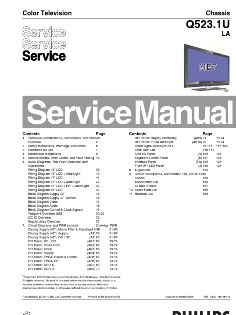 philips lcd tv q523 1u la service manual electrical connector