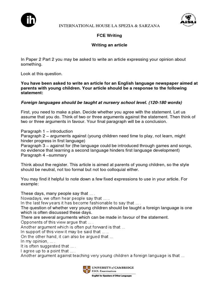 Fce Opinion Essay  PDF  Argument  Foreign Language
