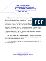 HCP Note d'Information Relative à l'Indice de La Production Industrielle Du Troisième Trimestre 2014