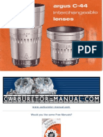 Argus Camera C 44 Lenses Instruction Manual