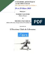 Fiche d'Inscription Stage 28 Et 29 Mars 2015