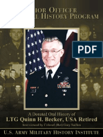 Donated Oral History of Lieutenant General Quinn H Becker USA Retired