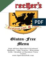 Sprecher's Gluten Free Menu