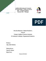 Trabajo Tema IV El Arbitraje, La Huelga, Organizacion Productiva.
