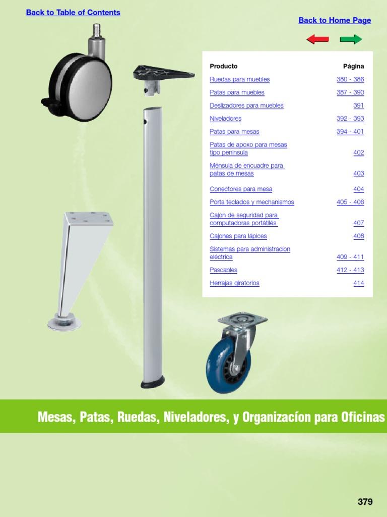Accesorios Ruedas Patas Dimenciones_niveladores_oficinas  # Ruedas Para Muebles Hafele