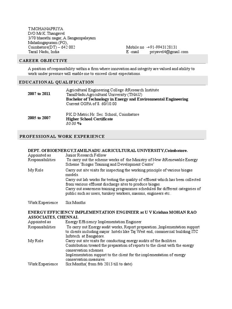 Resume | Algae Fuel | Tamil Nadu