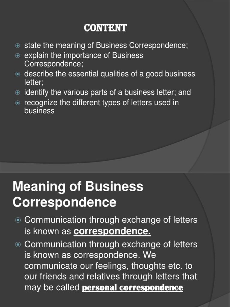 Business Correspondence Sales Communication