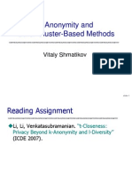 k Anonymity and Cluster Based Methods