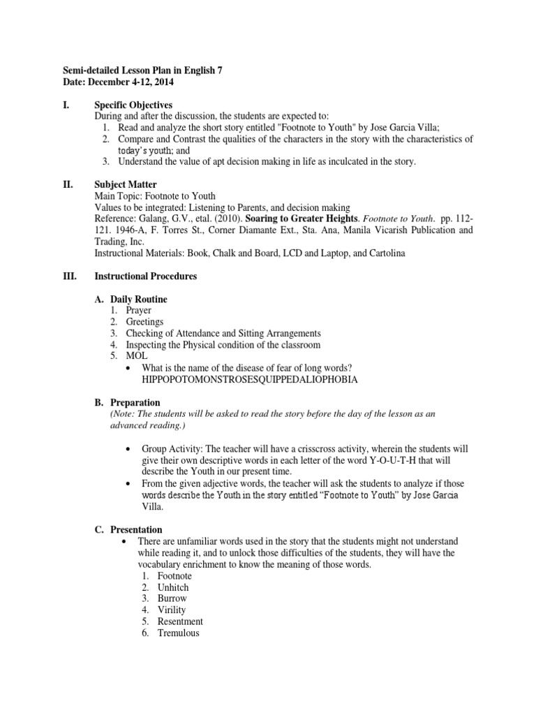 Semi-detailed Lesson Plan in English 7 Date: December 4-12, 2014 I