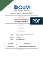 BBPP1103 PRINCIPLES OF MANAGEMENT SEPTEMBER 2014