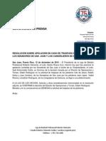 CP 12-12-2014 - RESOLUCIÓN SOBRE APELACIÓN EN CASO DE TRASPASO DE JUGADORES DE LOS SENADORES DE SAN  JUAN Y LOS CANGREJEROS DE SANTUCE
