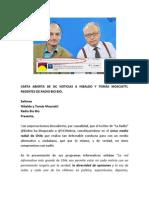 Carta Abierta de Sic Noticias a Nibaldo y Tomás Mosciatti regentes de Radio Bio Bio