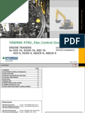 Training Yanmar 4tnv Tier III | Vehicle Technology | Internal
