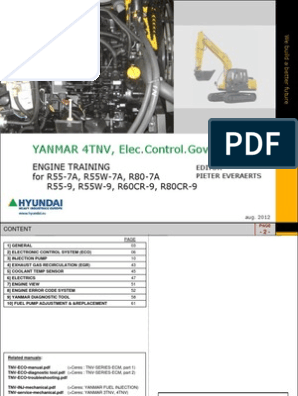 Training Yanmar 4tnv Tier III | Vehicle Technology