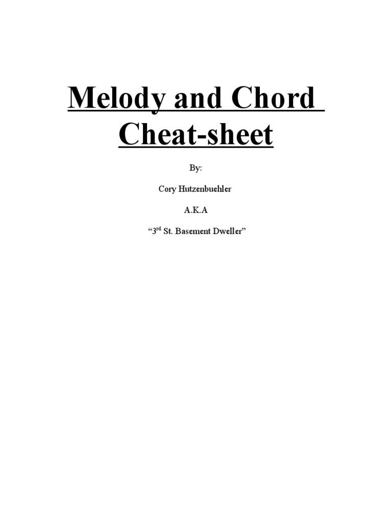 Melody And Chord Cheat Sheet