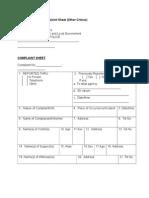 Sample Format of Complaint Sheet (Other Crimes)