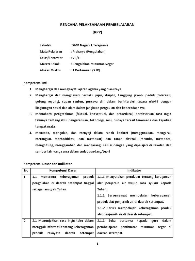 Rpp Prakarya Kelas 7 Rekayasa Alat Penjernih Air