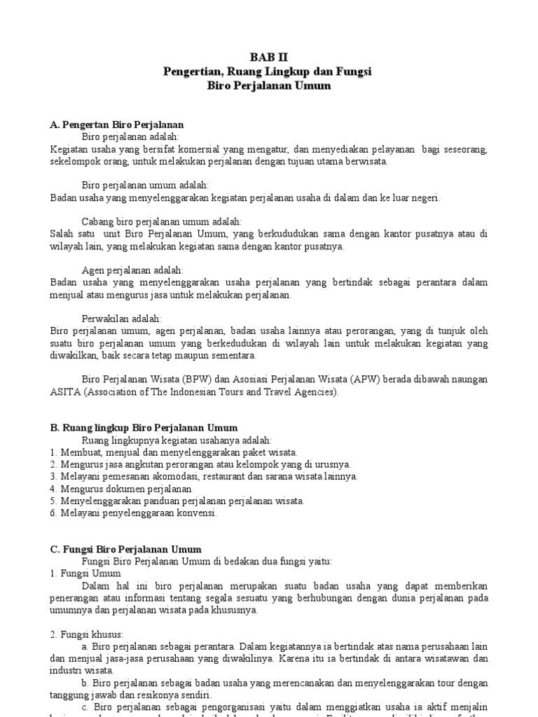 BAB II Pengertian Dan Fungsi Biro Perjalanan Umum
