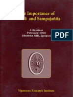 The Importance of Vedana and Sampajanna