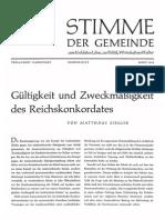 Matthäus Ziegler - Gültigkeit und Zweckmäßigkeit des Reichskonkordates; 1956, Stimme der Gemeinde, 12 S..pdf