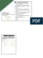 Formulario de Conceptos Basicos de Algebra y Terminos Semejantes