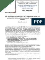Desrosieres Les Recherches de Ian Hacking Sur l'Histoire Des Usages Des