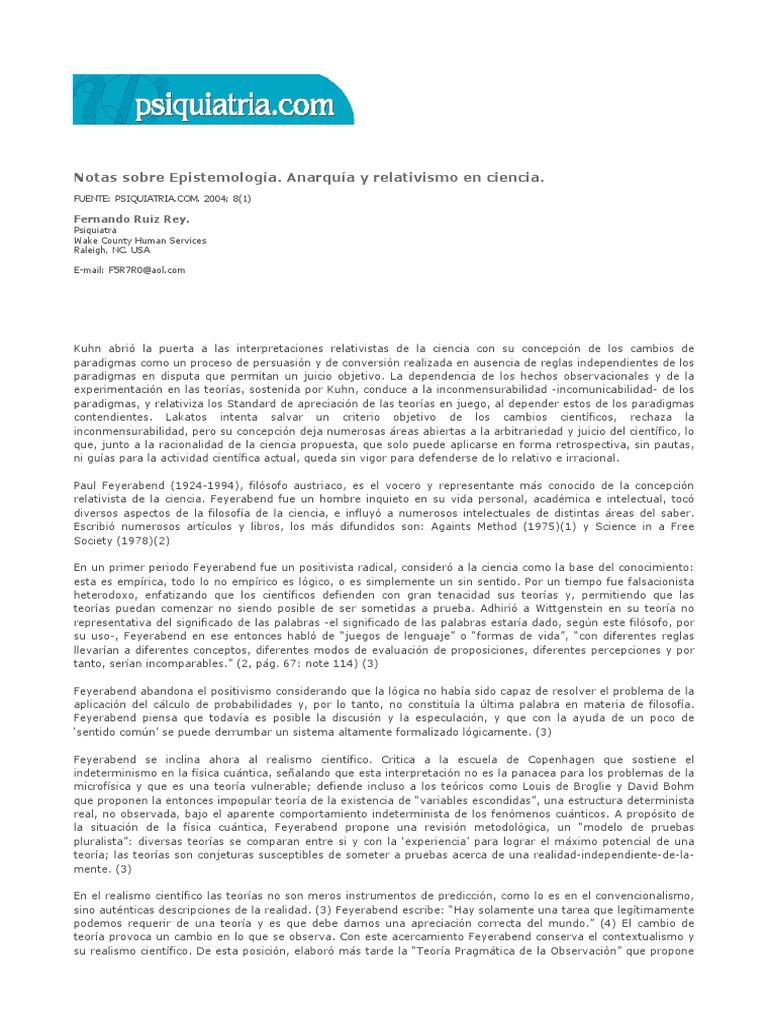 Fernando ruiz rey notas sobre epistemolog a anarqu a y relativismo en la ciencia