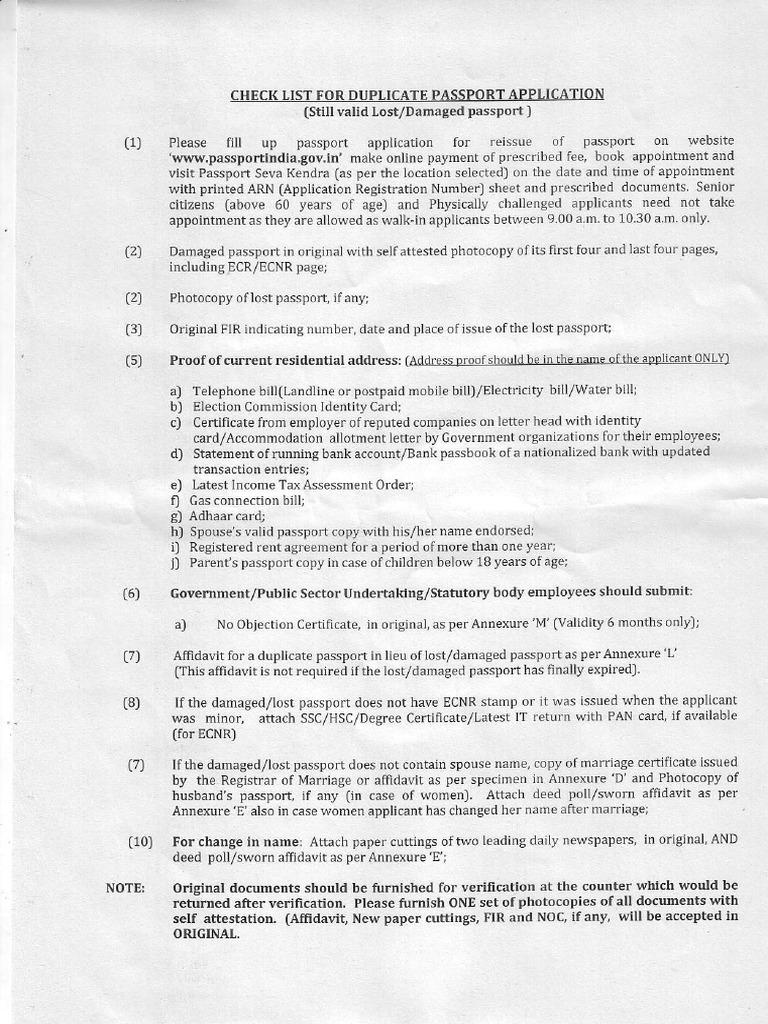 Check List for Duplicate Passort Application | Passport