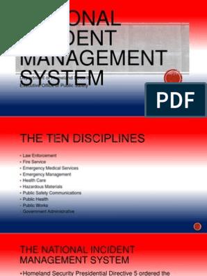 National Incident Management System Incident Command System Incident Management