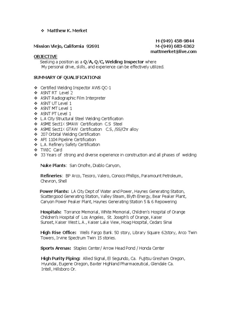 Certified Welding Inspector Qa Qc In Usa Resume Matthew Merket
