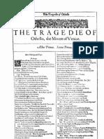 William Shakespeare, Othello, The Moore of Venice (Facs. 1st Folio 1623) [1623]