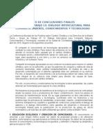 TEXTO DE CONCLUSIONES FINALES                                                                             GRUPO DE TRABAJO 13