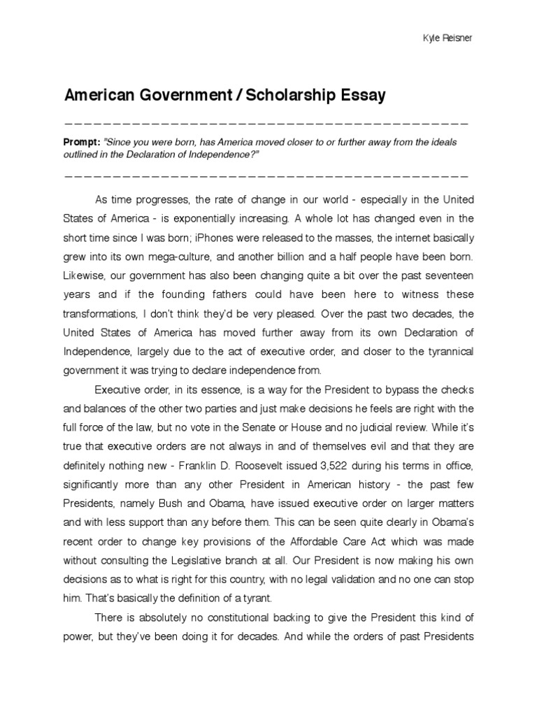 government scholarship essay tyrant the united states