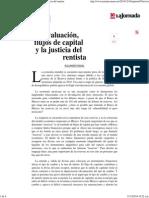 La Jornada- Devaluación, Flujos de Capital y La Justicia Del Rentista