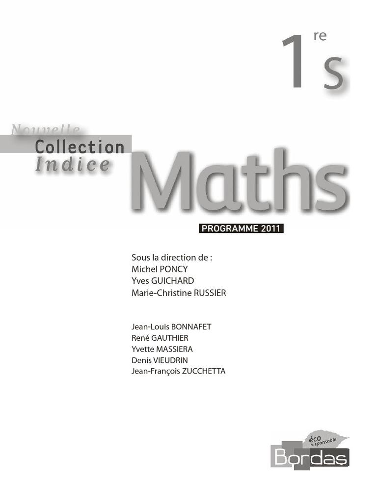 Indice 1ere S Maths Bordas Fonction Mathematiques Algebre