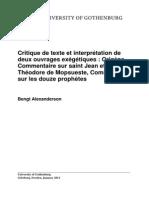 Bengt Alexanderson, Critique de Texte Et Interpretation de Deux Ouvrages Exegetiques, Origene