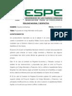 Propuesta de Código Monetario Del Ecuador