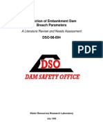 Prediction of Embankment Dam Breach Parameters USBR 1998