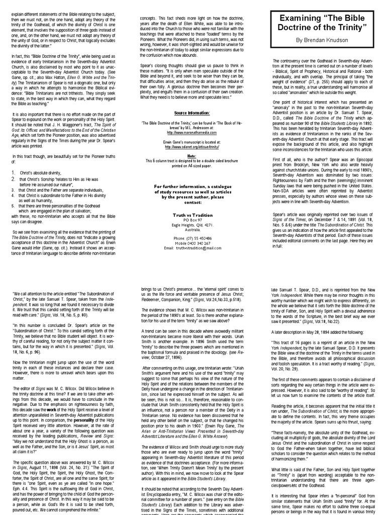 "Examining ""The Bible Doctrine of the Trinity"": By Brendan Knudson"
