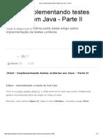 JUnit - Implementando Testes Unitários Em Java - Parte II