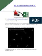 Mengambil Data Koordinat Dari AutoCAD Ke Excel